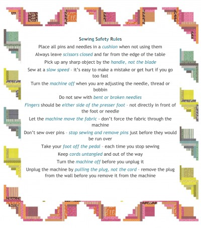 Post image for free printable – sewing safety rules pdf