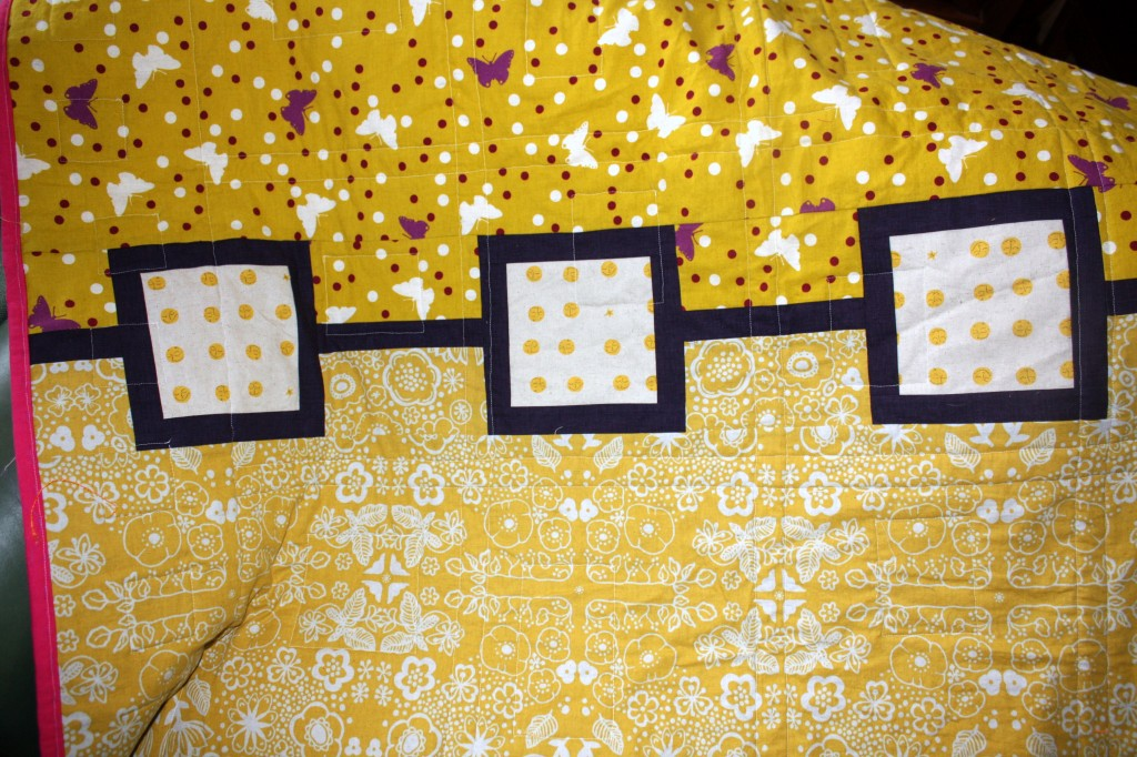 back of sleeping beauty quilt